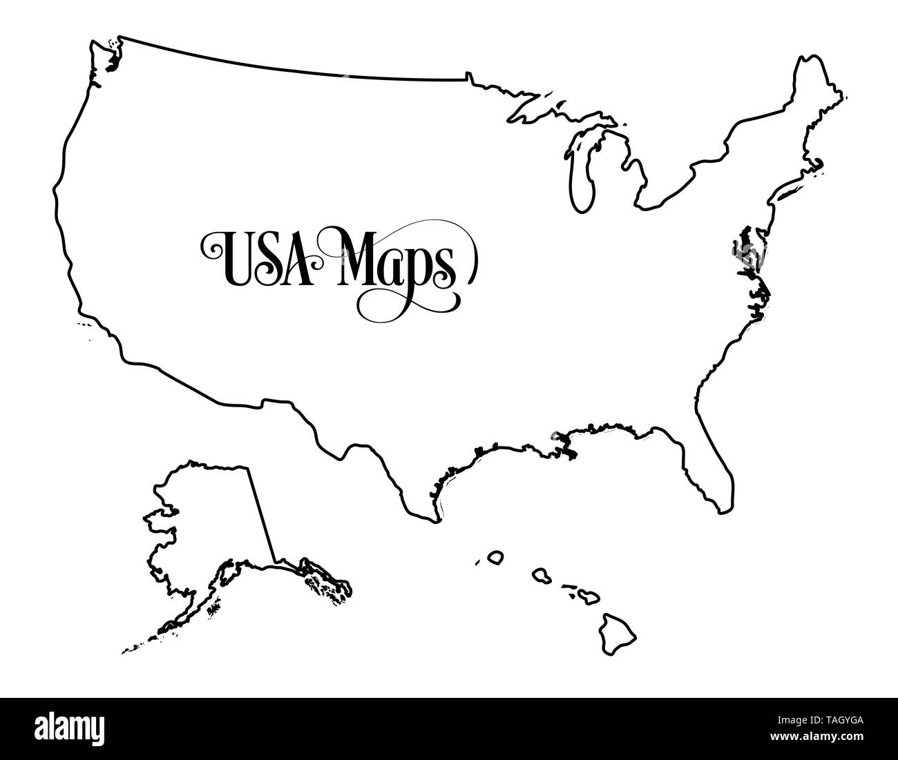 Map Of America Outline.Map Of The United States Of America Usa Outline Illustration On