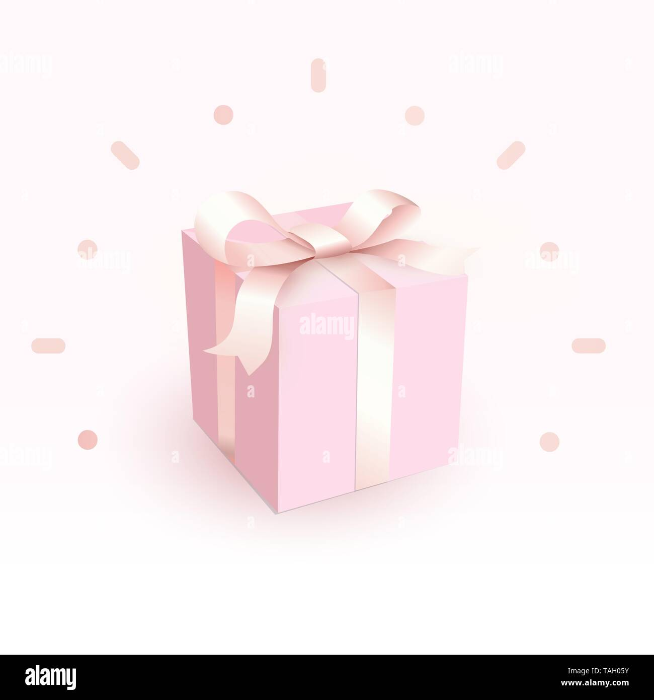 Pink closed box with tender satin ribbon. Magic and beautiful Gift box for girl, side view. Happy birthday greeting card design isolated element in - Stock Image