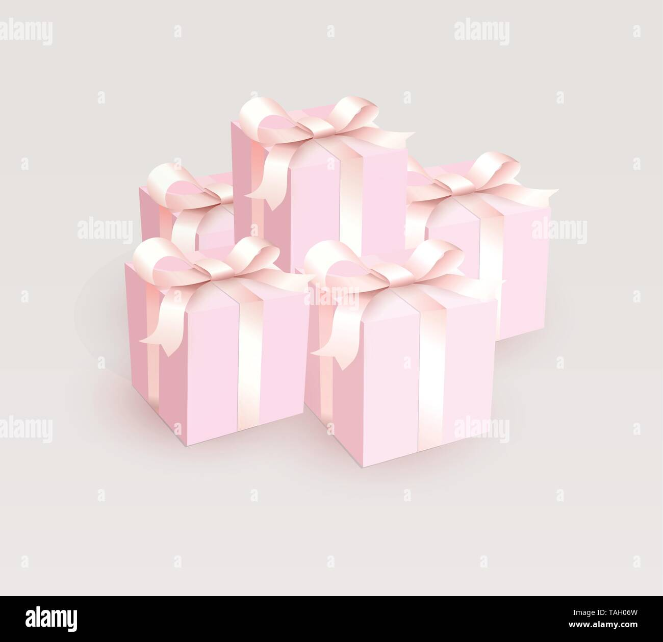 Wedding gift boxes with tender satin ribbon. Magic pink beautiful Gift closed boxes for girl, side view. Vector illustration. - Stock Image