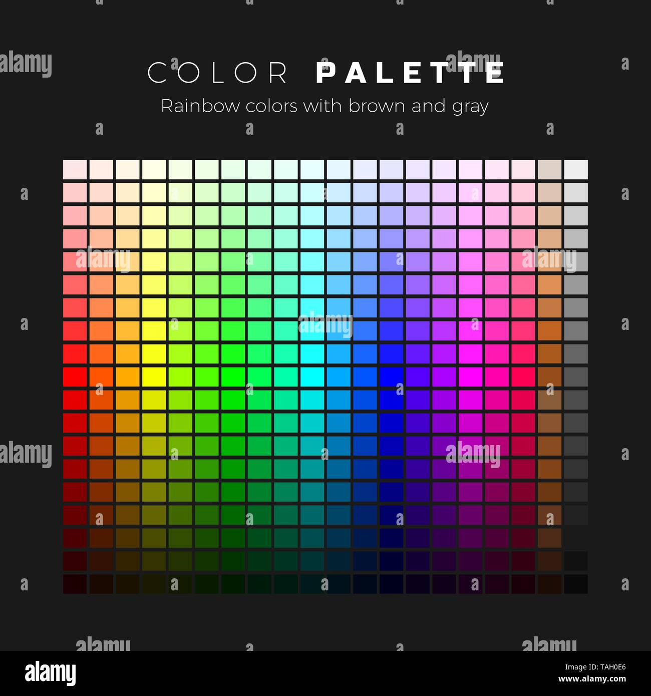 Colorful Palette Full Spectrum Of Colors With Brown And Gray Shades Set Of Bright Colors Of Rainbow Palette Vector Illustration Stock Vector Image Art Alamy