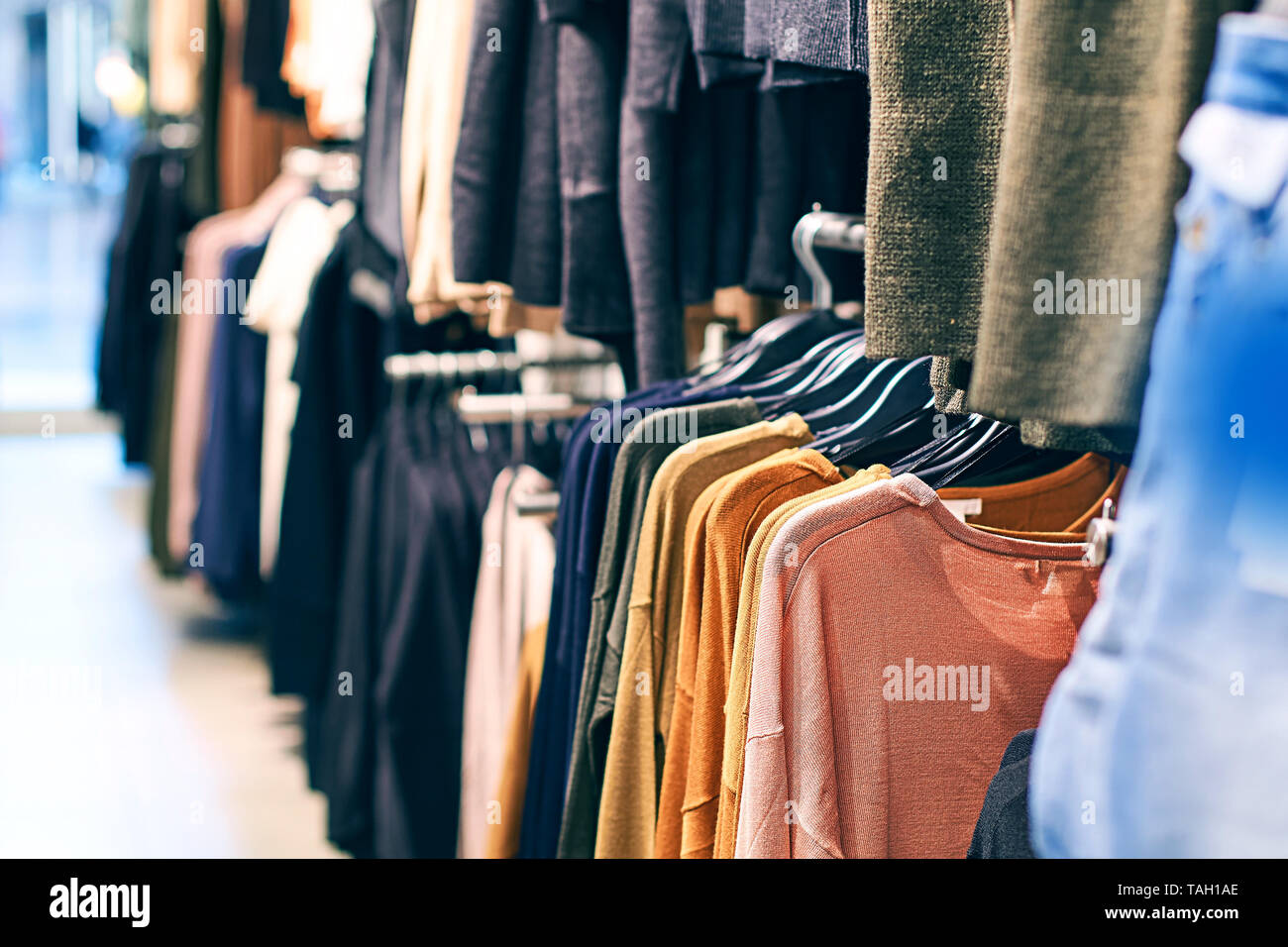 3854efda28a Fashion trend concept. Interior of clothes store with different women  clothes on hangers.