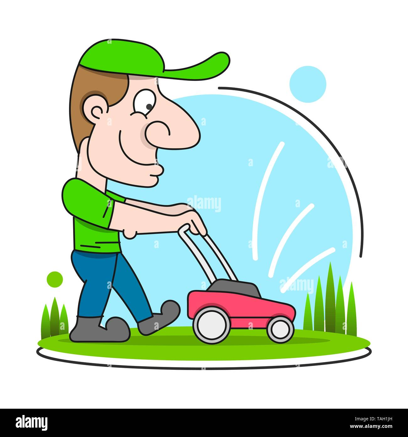 Illustration Of A Gardener Wearing Hat And Overalls With Lawnmower Mowing Lawn Viewed From Front Set On Isolated - Stock Image