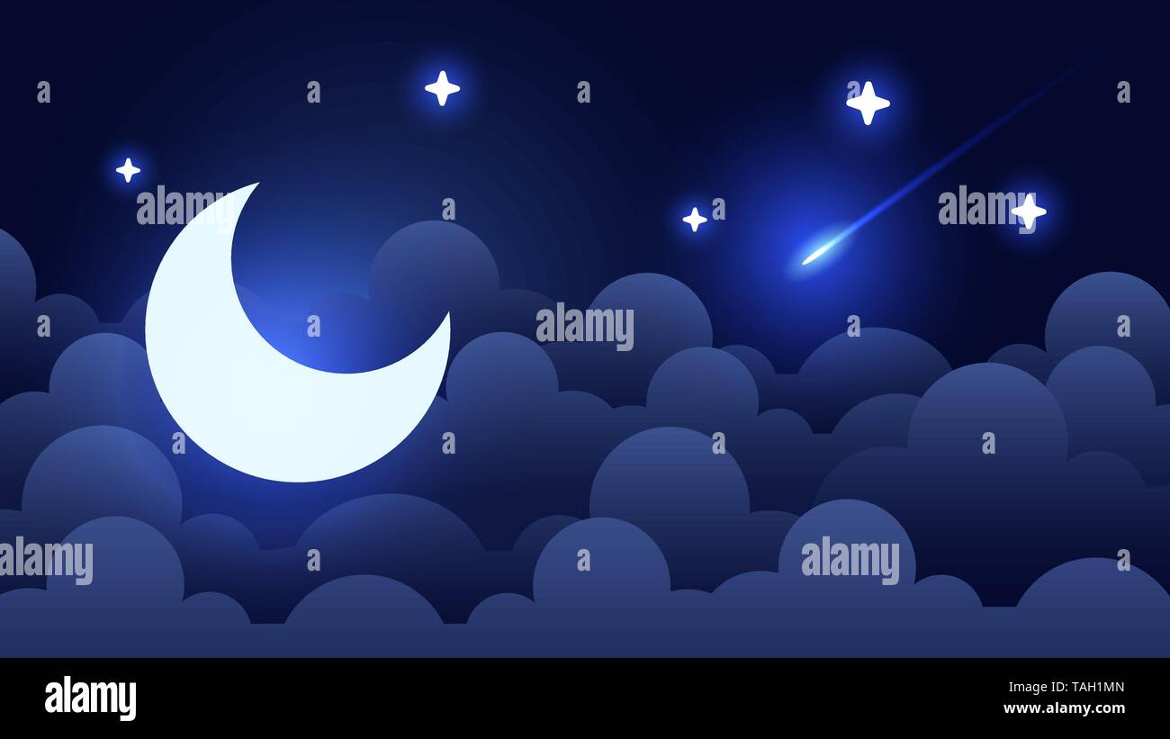 Mystical Night sky background with half moon, clouds and stars. Moonlight night. Vector Stock Vector