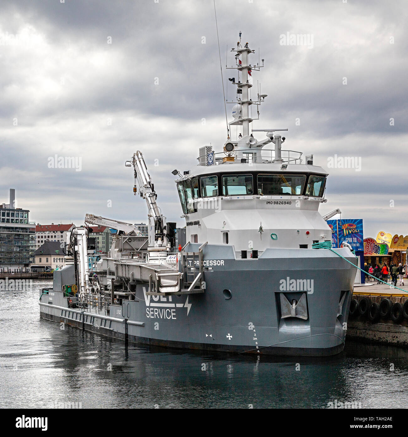 Specialty vessel Volt Processor in the port of Bergen, Norway - Stock Image