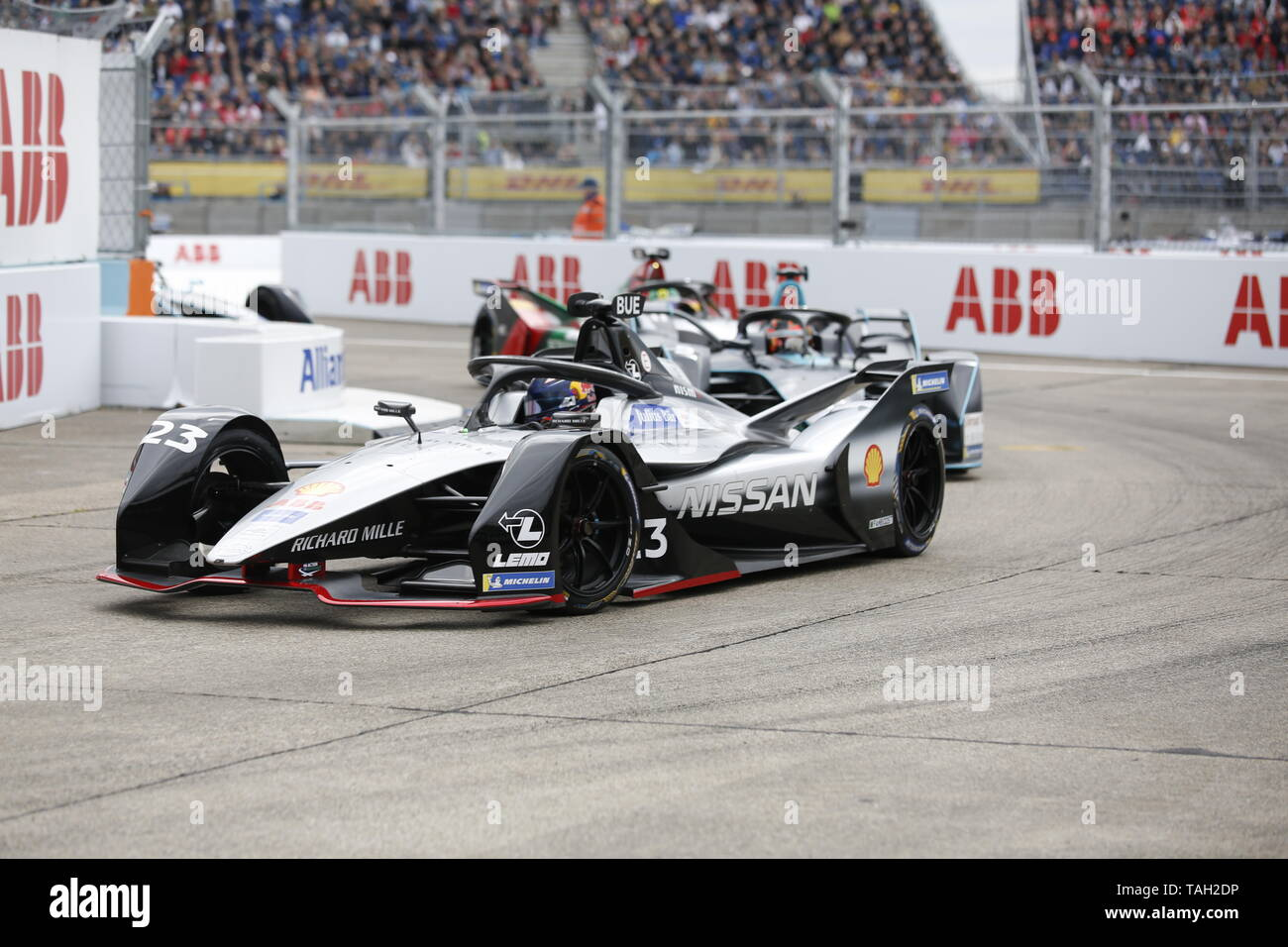 25.05.2019, Berlin, Germany.Sébastien Buemi at the race. Lucas Di Grassi from the Audi Sport Abt Schaeffler team wins the Berlin ePrix. Sébastien Buemi from the team Nissan e.dams wins the second place and Jean-Eric Vergne from the team DS TECHEETAH wins the third place. The Formula E will be on the 25th of May 2019 for the fifth time in Berlin. The electric racing series 2018/2018 will take place at the former Tempelhof Airport. - Stock Image