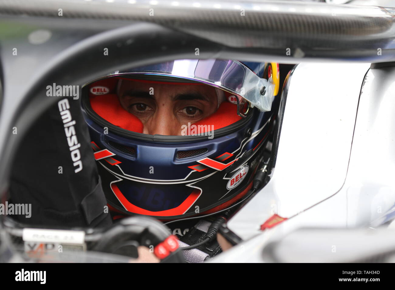 25.05.2019, Berlin, Germany.Sébastien Buemi at the grid. Lucas Di Grassi from the Audi Sport Abt Schaeffler team wins the Berlin ePrix. Sébastien Buemi from the team Nissan e.dams wins the second place and Jean-Eric Vergne from the team DS TECHEETAH wins the third place. The Formula E will be on the 25th of May 2019 for the fifth time in Berlin. The electric racing series 2018/2018 will take place at the former Tempelhof Airport. - Stock Image