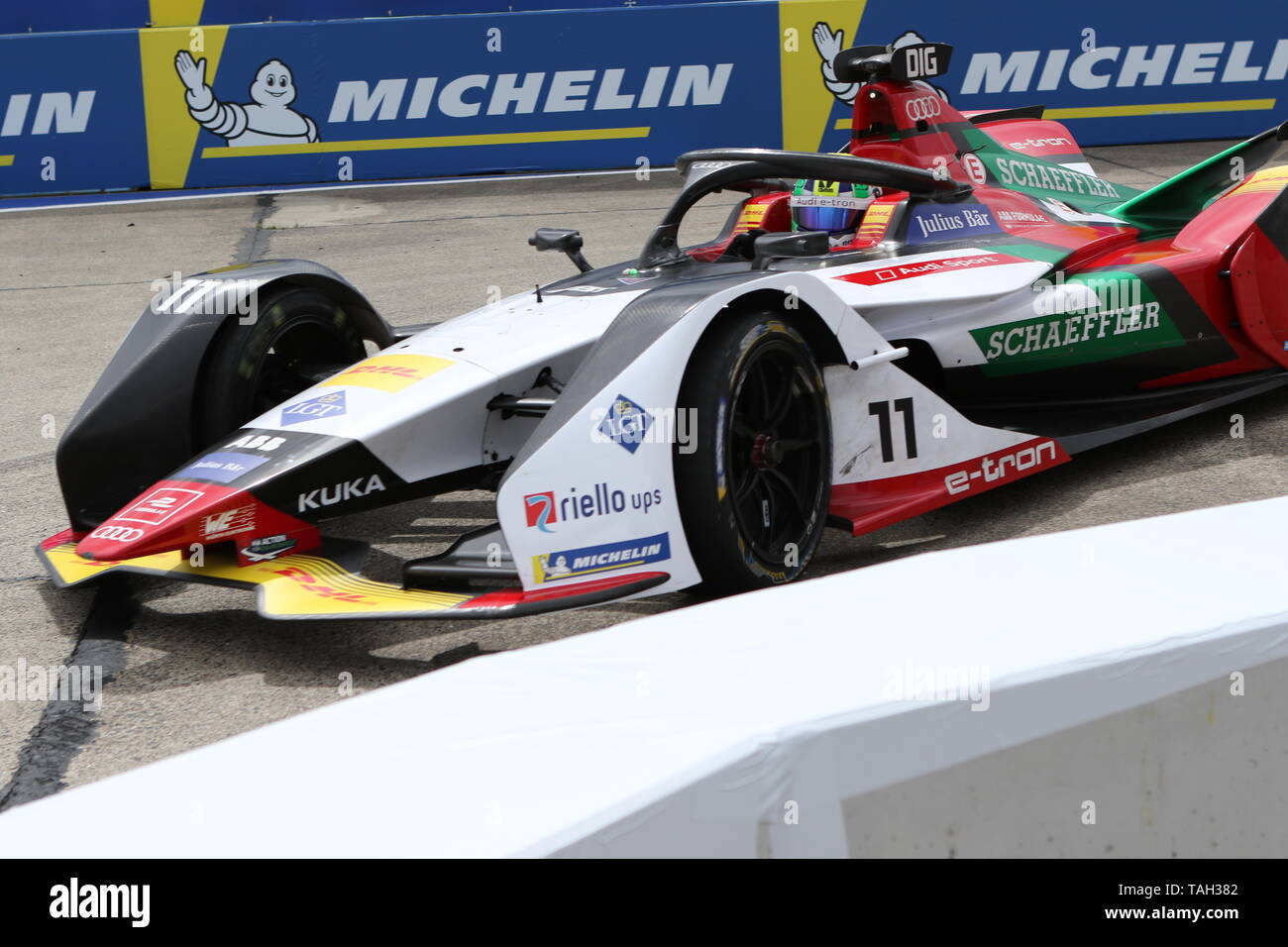 25.05.2019, Berlin, Germany. Lucas Di Grassi at the race. Lucas Di Grassi from the Audi Sport Abt Schaeffler team wins the Berlin ePrix. Sébastien Buemi from the team Nissan e.dams wins the second place and Jean-Eric Vergne from the team DS TECHEETAH wins the third place. The Formula E will be on the 25th of May 2019 for the fifth time in Berlin. The electric racing series 2018/2018 will take place at the former Tempelhof Airport. - Stock Image