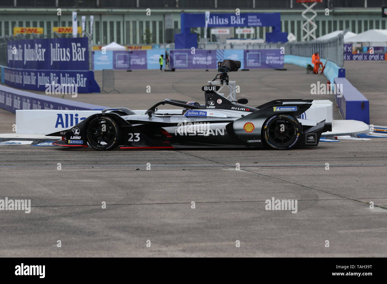 25.05.2019, Berlin, Germany. Sébastien Buemi at the race. Lucas Di Grassi from the Audi Sport Abt Schaeffler team wins the Berlin ePrix. Sébastien Buemi from the team Nissan e.dams wins the second place and Jean-Eric Vergne from the team DS TECHEETAH wins the third place. The Formula E will be on the 25th of May 2019 for the fifth time in Berlin. The electric racing series 2018/2018 will take place at the former Tempelhof Airport. - Stock Image