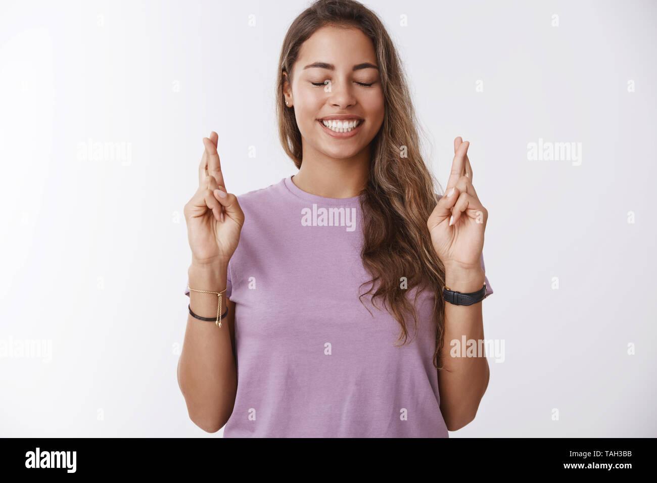Enthusiastic happy hopeful caucasian girl college student