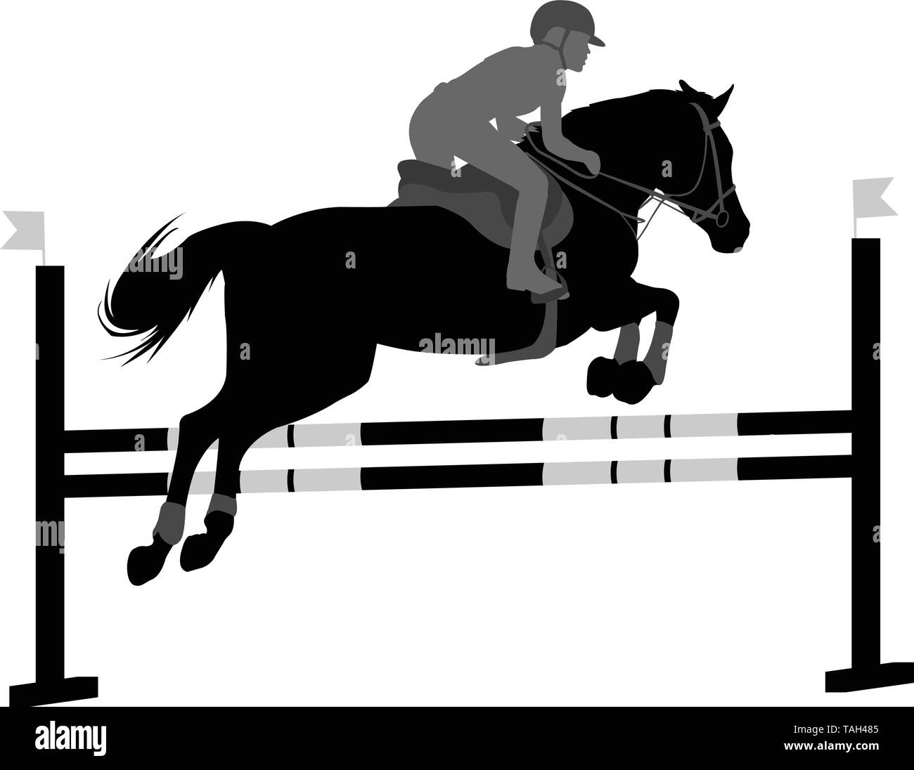 jumping show. horse with jockey jumping a hurdle silhouette - vector - Stock Vector