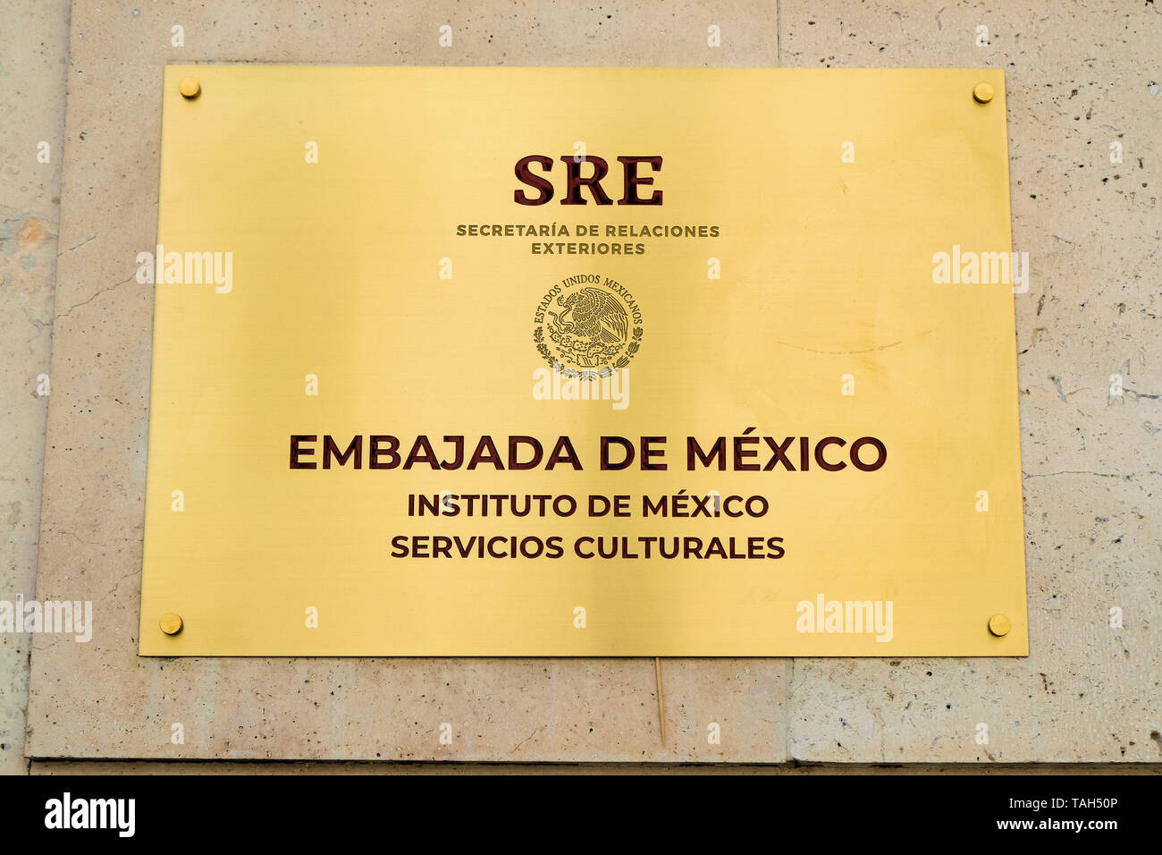 Plaque outside the Mexican Embassy in Madrid, Spain; Cultural attache office sign at the Mexican Embassy in Spain. - Stock Image