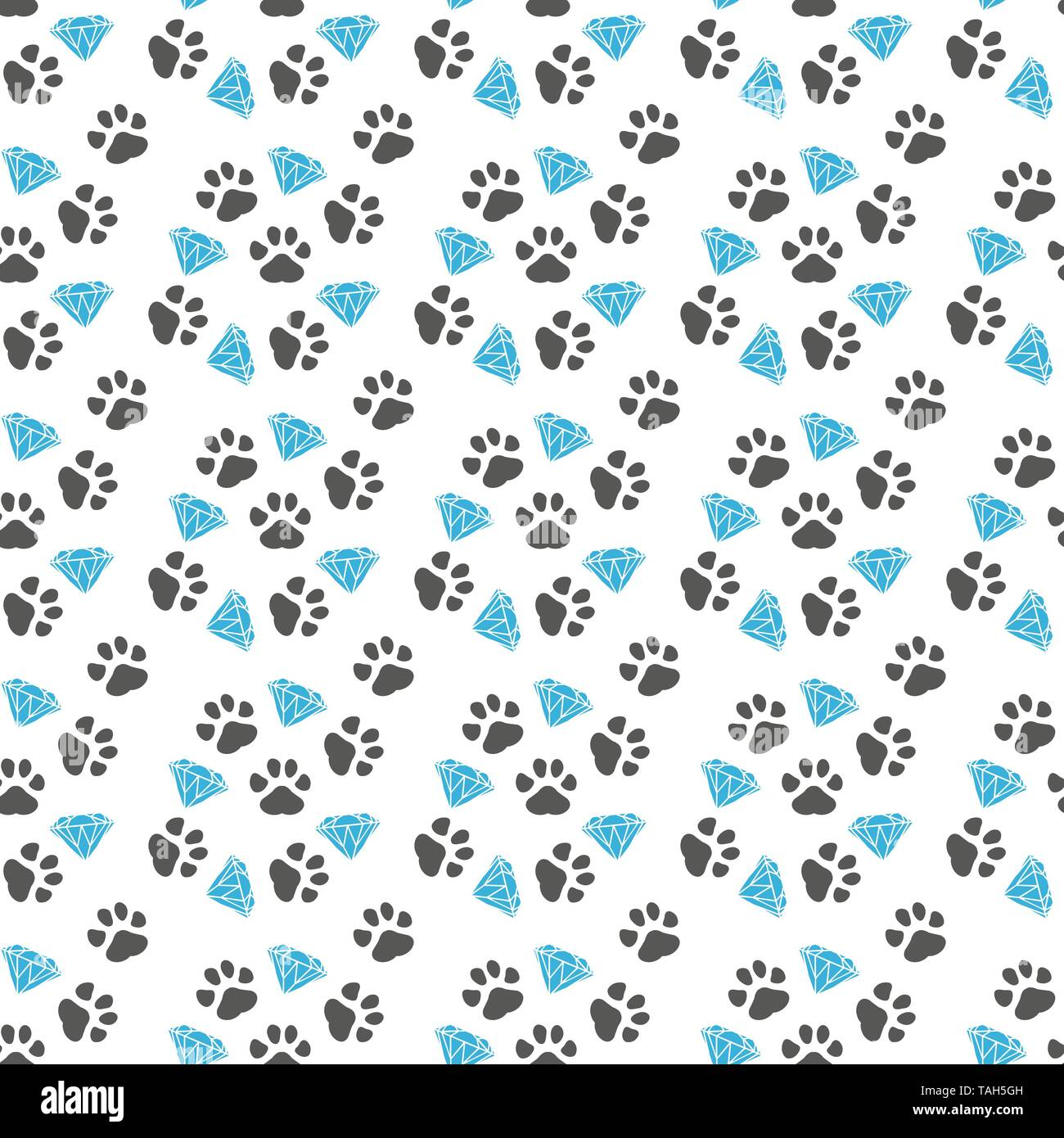 Vector seamless pattern with paw footprints of a dog.eps 10. - Stock Image