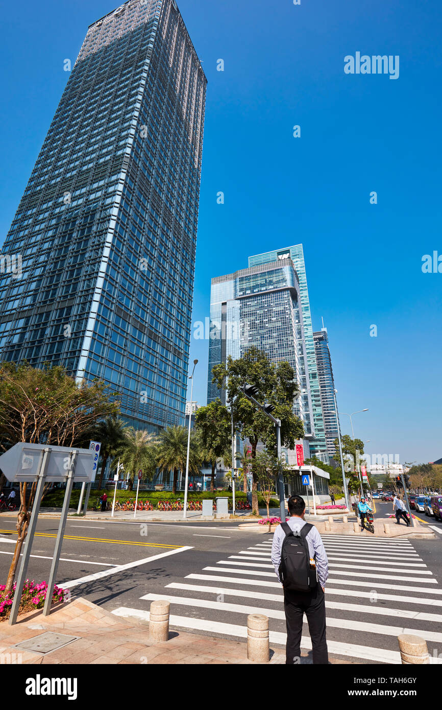 Pedestrian crossing in Futian Central Business District (CBD). Shenzhen, Guangdong Province, China. - Stock Image