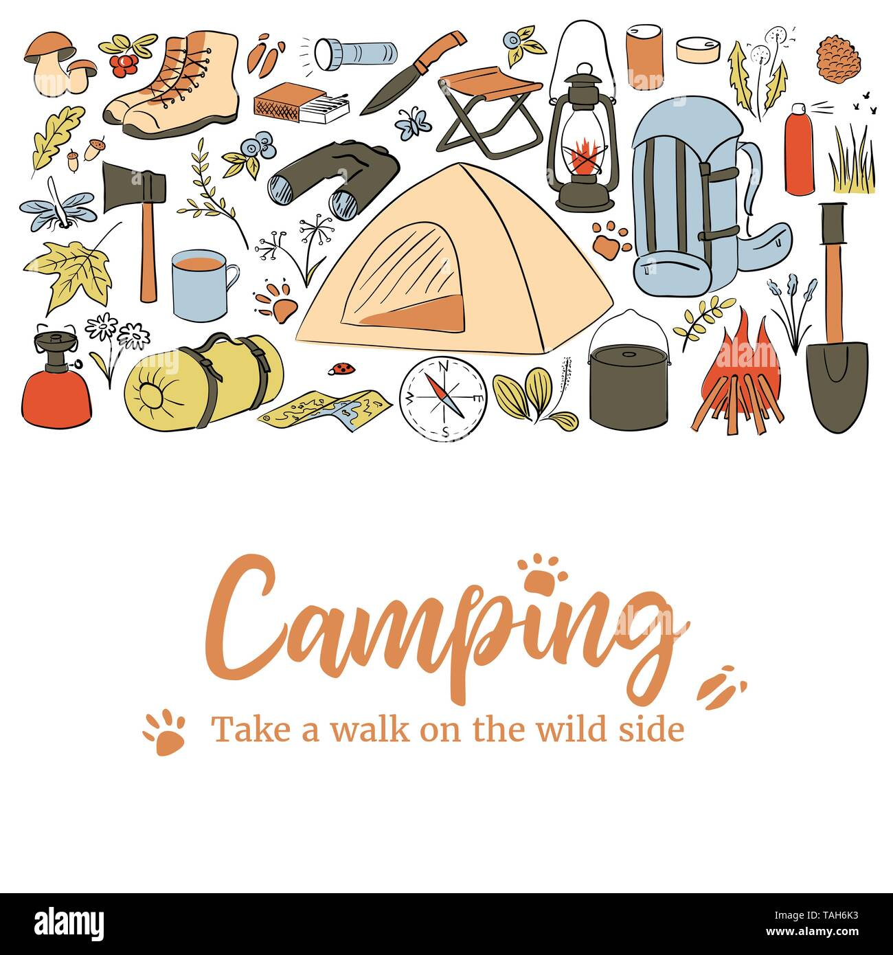 Camping card template. Take a walk on the wild side. Hiking icons colored sketch style set. vector collection. frame on top text, copy space. Vector i - Stock Vector