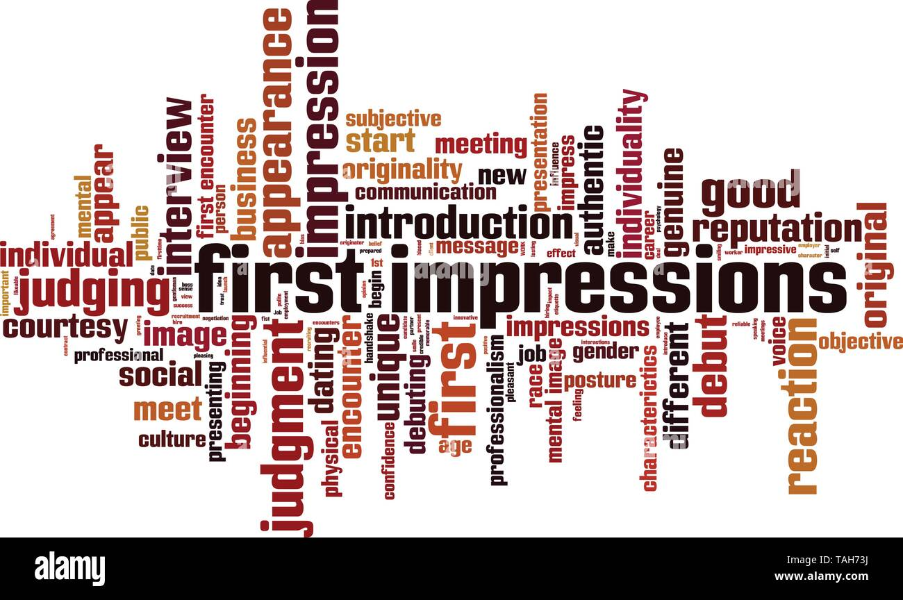 First impressions word cloud concept. Collage made of words about first impressions. Vector illustration - Stock Image