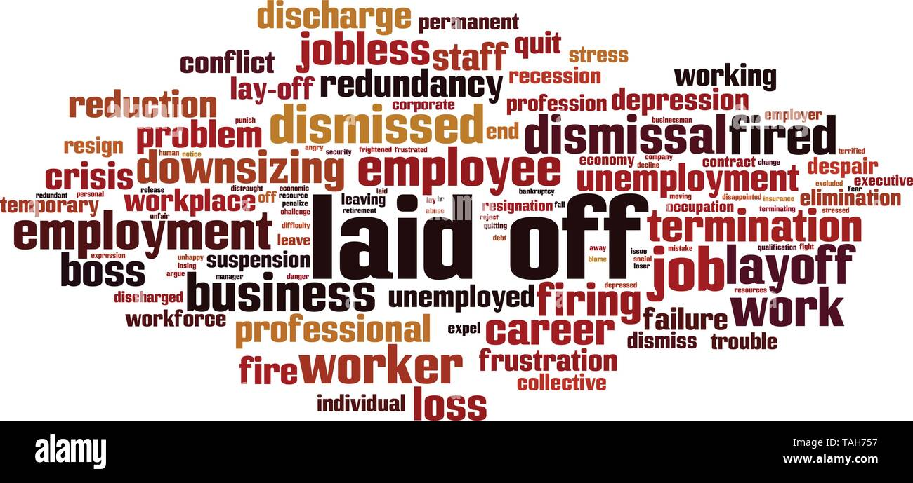 Laid-off word cloud concept. Collage made of words about laid-off. Vector illustration - Stock Vector