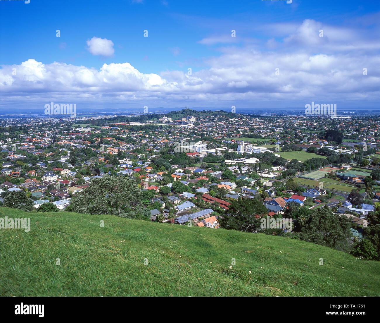 Epsom suburb from Mt Eden Summit (Maungawhau), Auckland, Auckland Region, New Zealand - Stock Image