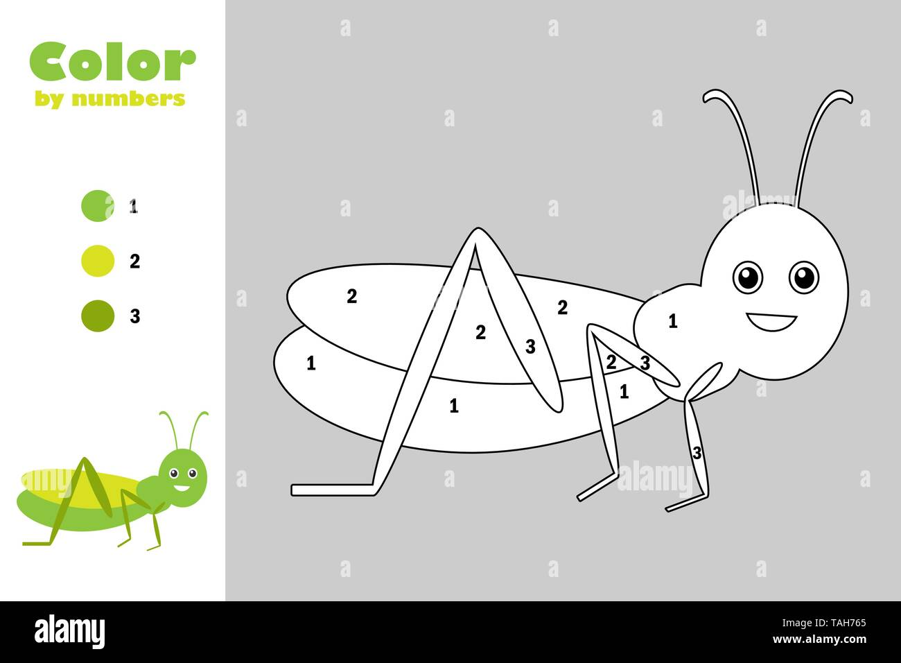 grasshopper in cartoon style color by number education paper game for the development of children coloring page kids preschool activity printable stock vector image art alamy https www alamy com grasshopper in cartoon style color by number education paper game for the development of children coloring page kids preschool activity printable image247470557 html