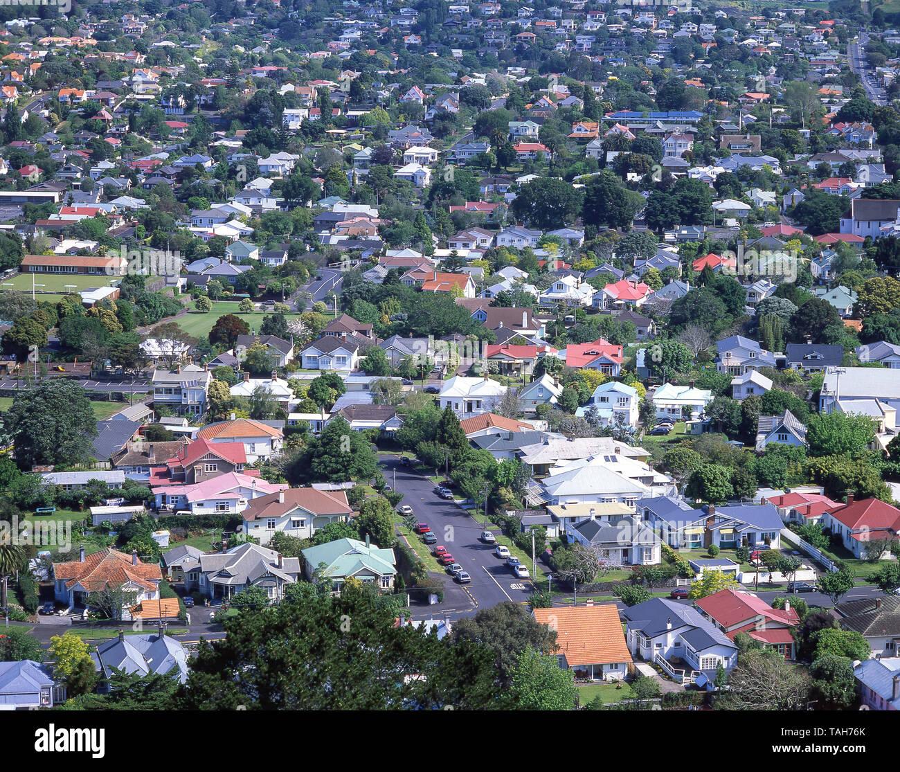 Mt Eden suburb from Mt Eden Summit (Maungawhau), Auckland, Auckland Region, New Zealand - Stock Image
