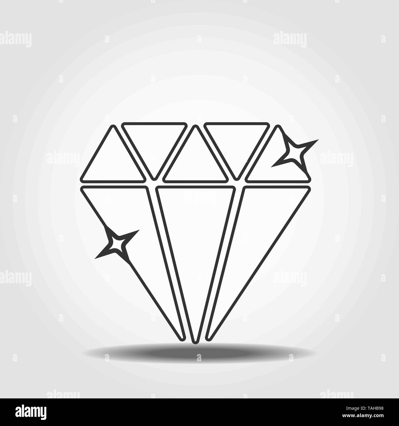 Diamond linear icon. Thin line illustration. Shiny brilliant gem contour symbol. Vector isolated outline drawing eps10 - Stock Image