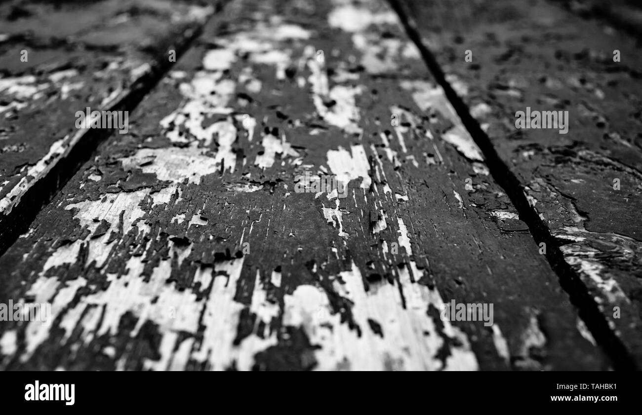 old planks with peeled paint - Stock Image