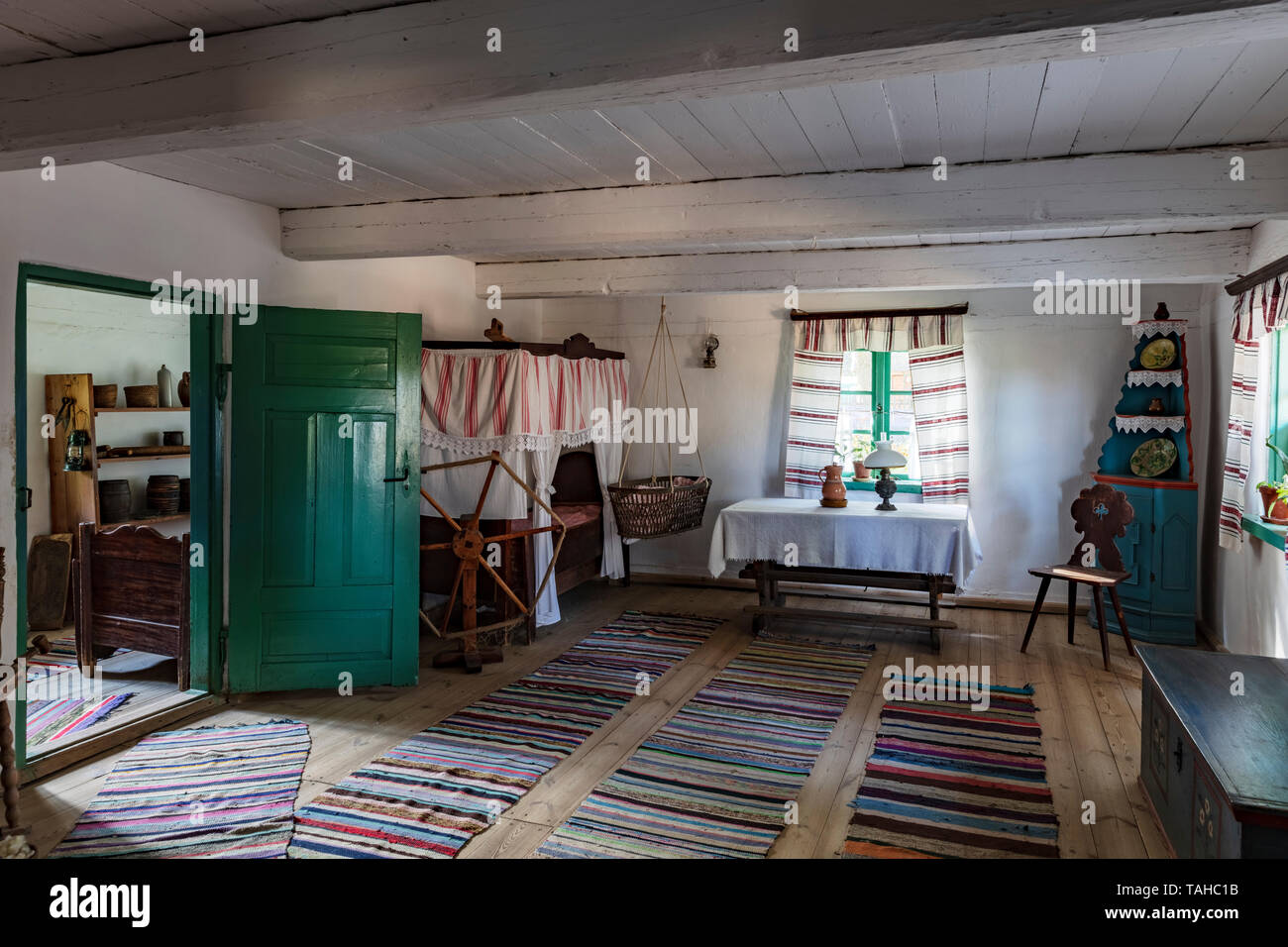 Museum of Folk Architecture in Olsztynek, the interior of a wooden hut,  Poland - Stock Image