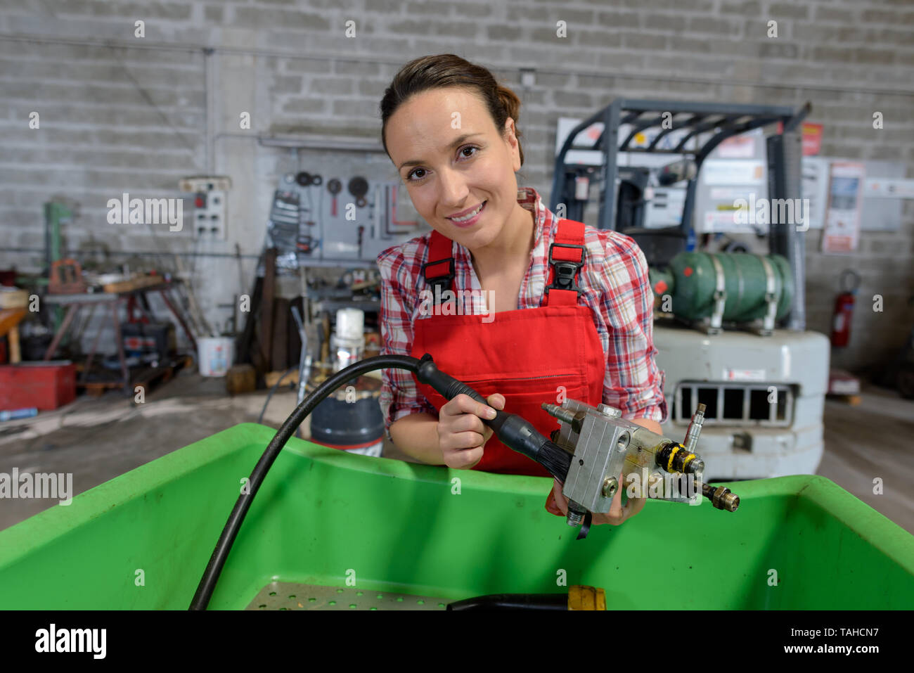 female worker on the production line Stock Photo