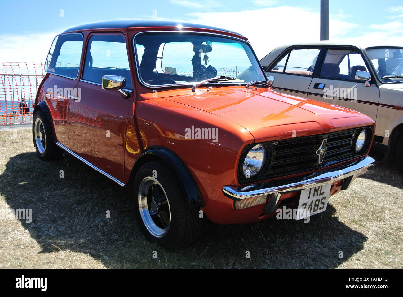 A 1978 British Leyland Mini parked up on display at the Riviera classic car show, Paignton, Devon, England. UK. Stock Photo