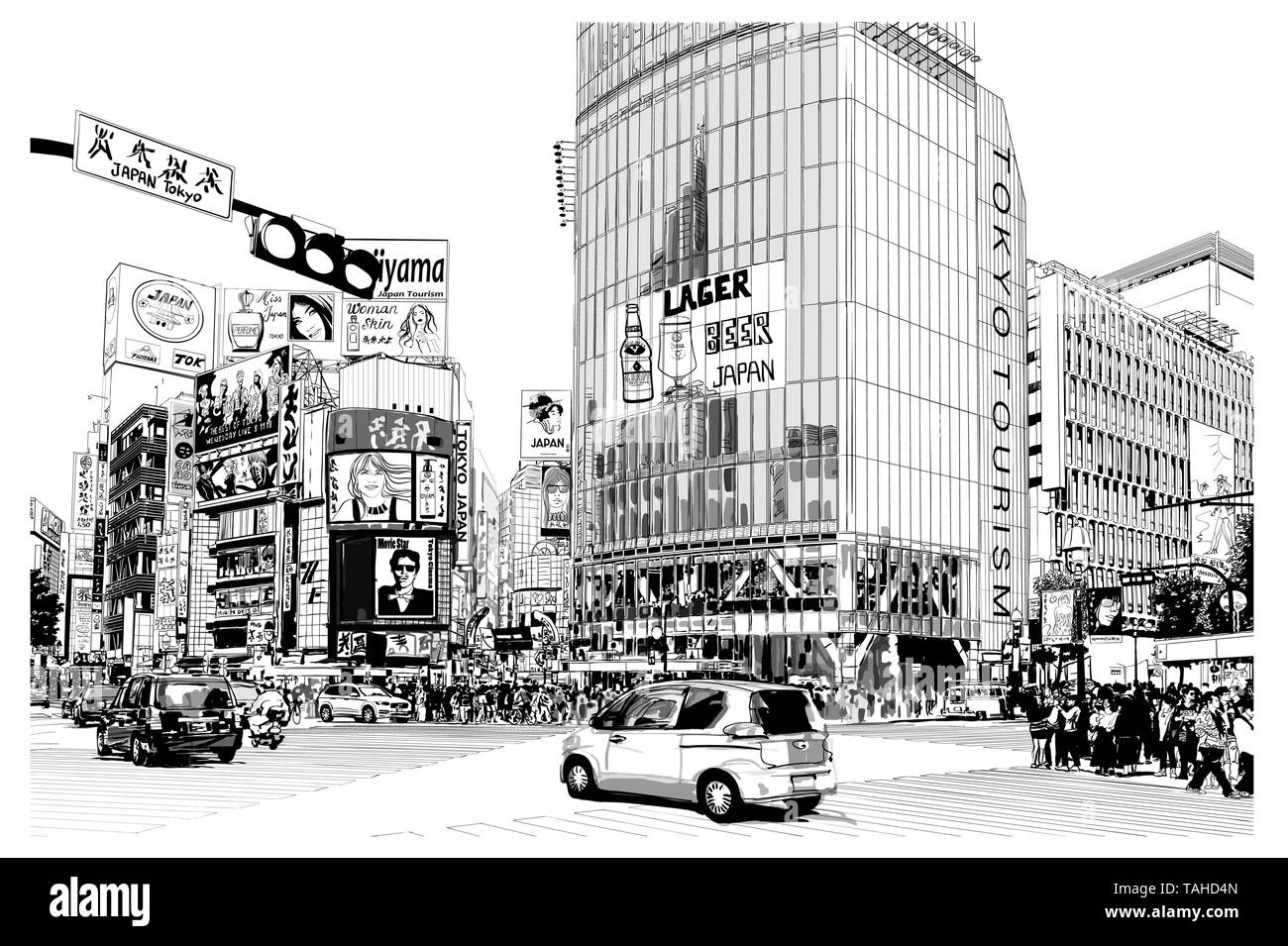 TOKYO, famous Shibuya crossroad - Vector illustration (all advertisements are fake, all characters are fictitious) - Stock Vector