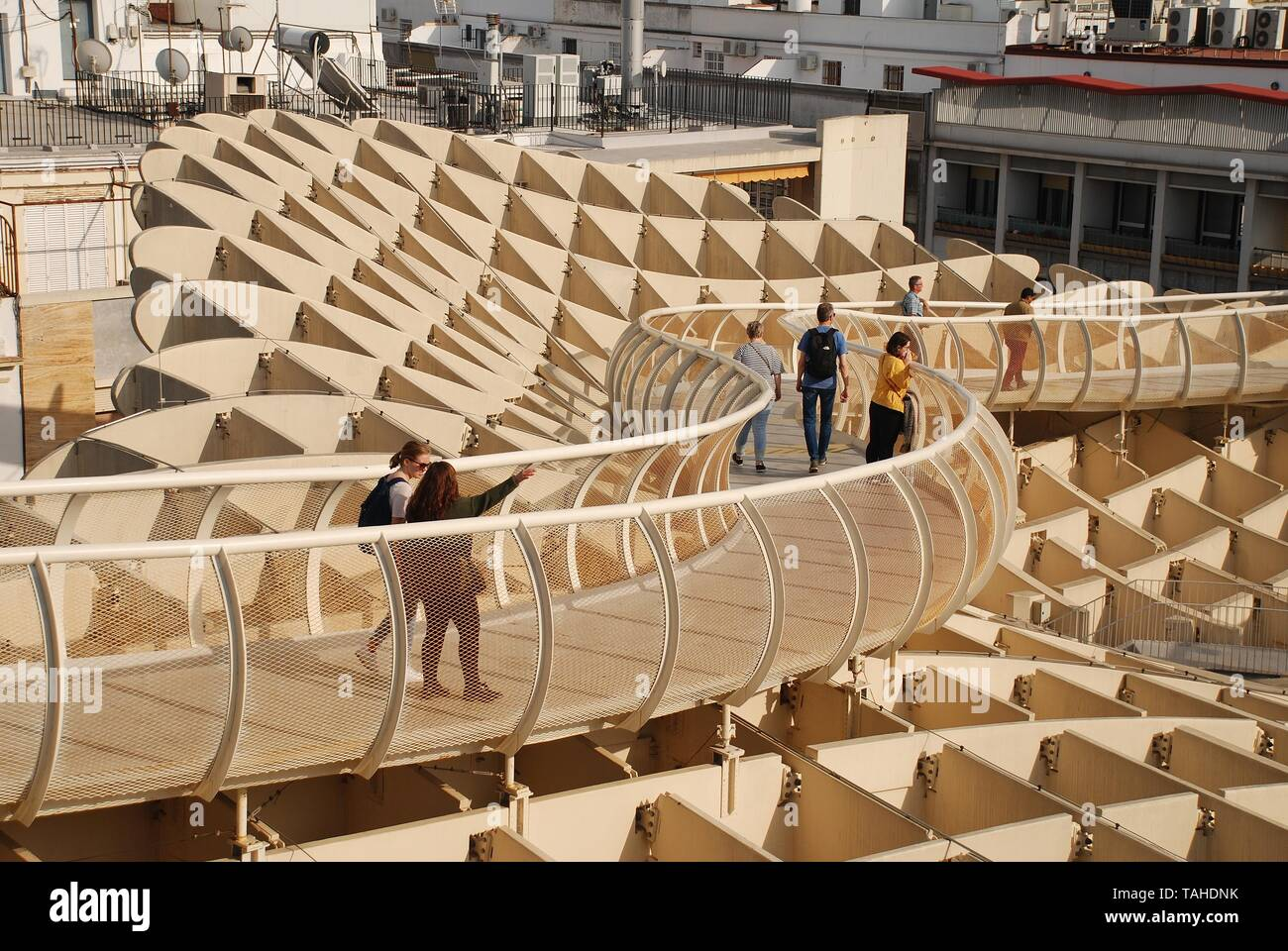 The walkway on the roof of the Metropol Parasol in Seville, Spain on April 2, 2019. Completed in 2011, the structure is known as Las Setas de Sevilla. Stock Photo