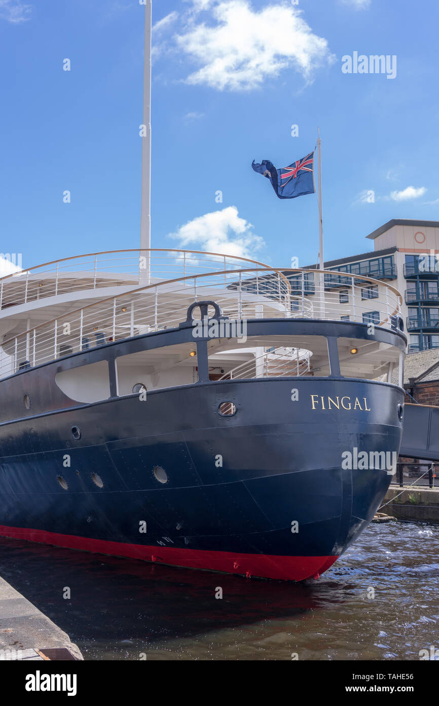 The MV Fingal, a luxury floating hotel permanently berthed in Leith Docks in Edinburgh Stock Photo