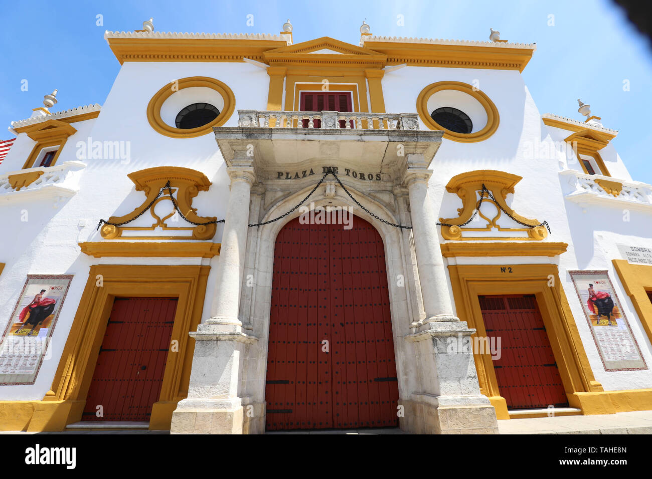 Seville, Spain - May 01 , 2019 : Bullfight arena, facade of Bullring in Seville, Real Maestranza de Caballeria de Sevilla, Spain - Stock Image