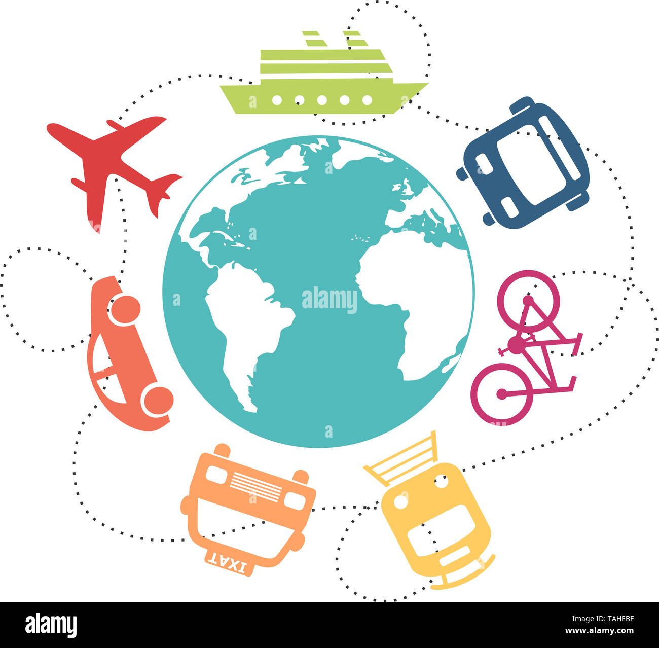Different means of transport around a globe - Stock Image