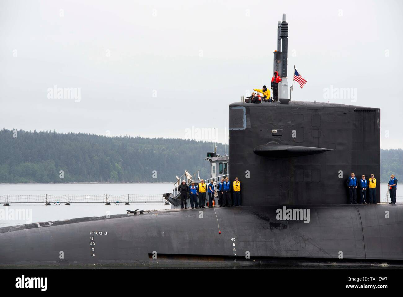 The U.S. Navy Ohio-class nuclear-powered guided-missile submarine USS Michigan arrives at Naval Magazine Indian Island May 13, 2019 in Port Hadlock, Washington. - Stock Image