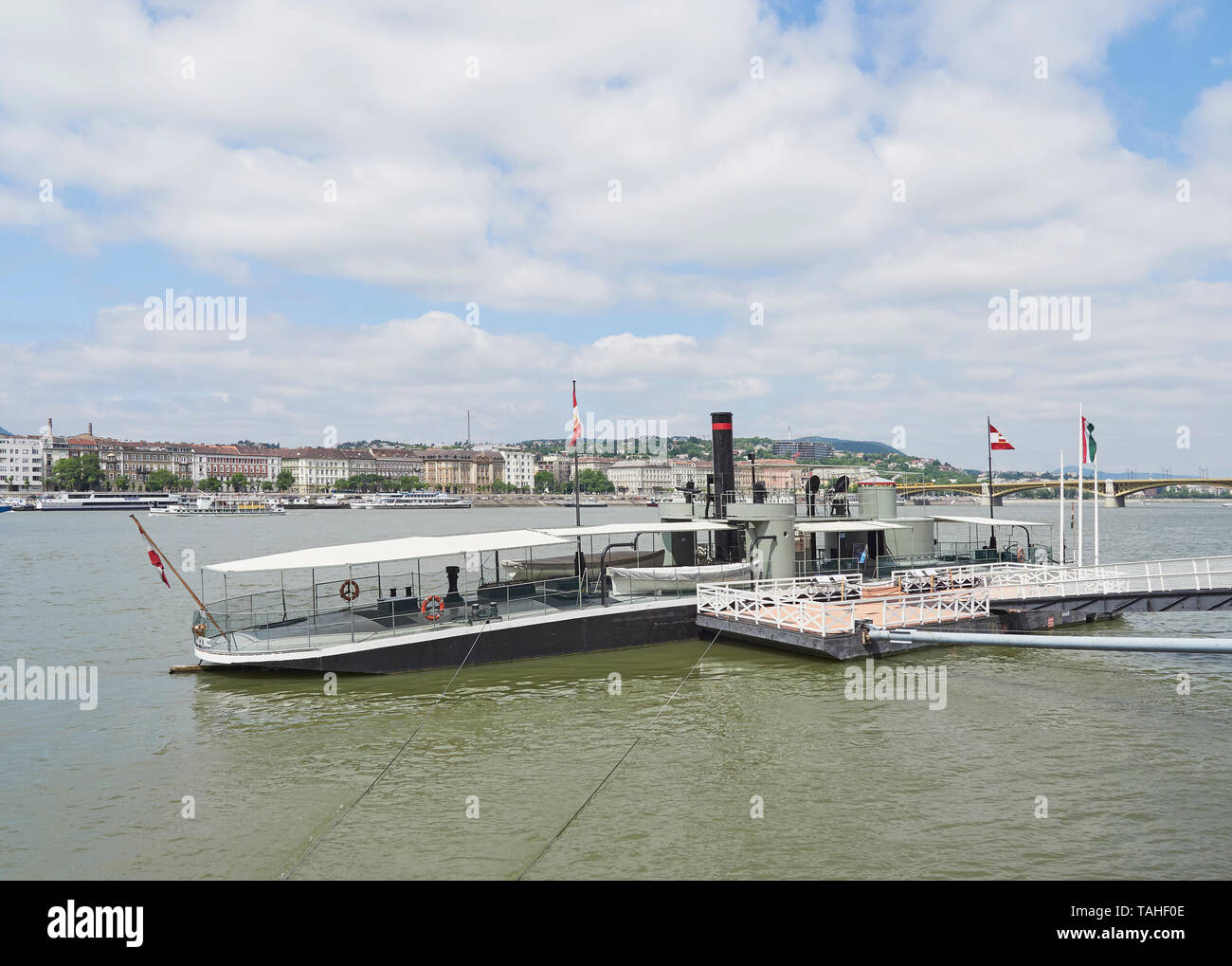 The museum ship SMS Leitha monitor warship of the Austro Hungarian Navy moored in the Danube outside the Budapest parliament building Hungary - Stock Image