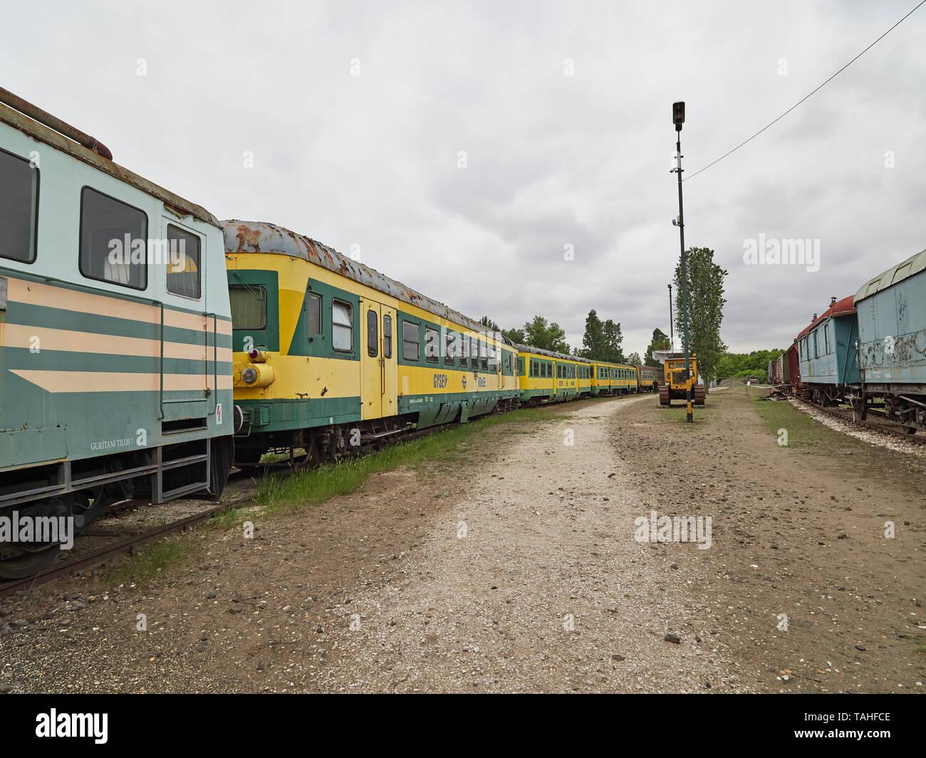 The Magyar Vasúttörténeti Park Hungarian Railway History Park commuter train Budapest Hungary - Stock Image