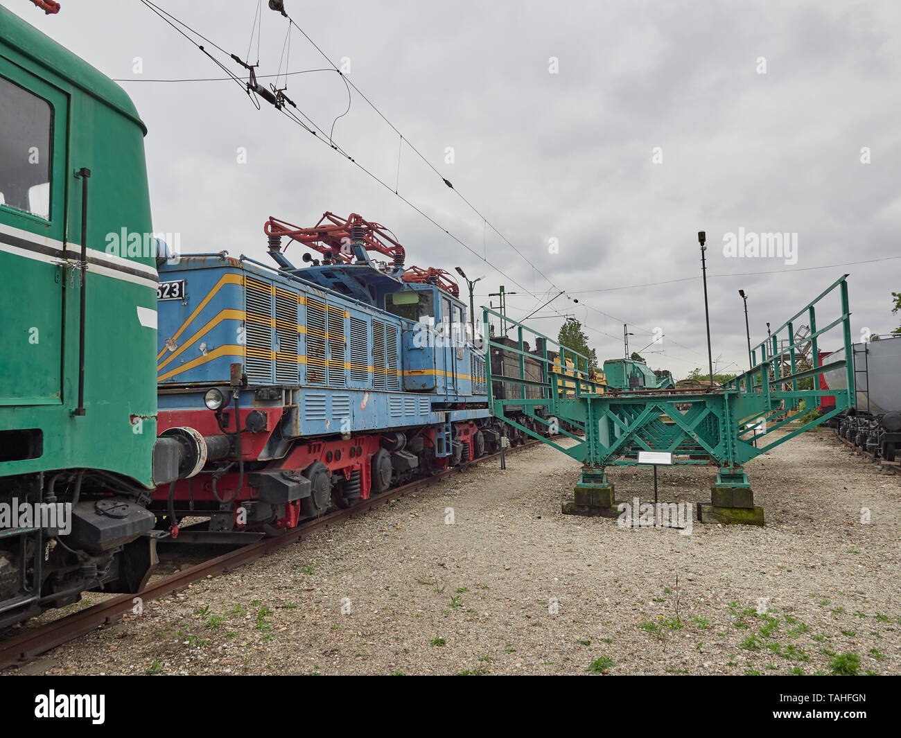 The Magyar Vasúttörténeti Park Hungarian Railway History Park and both electric and diesel locomotives Budapest Hungary Stock Photo