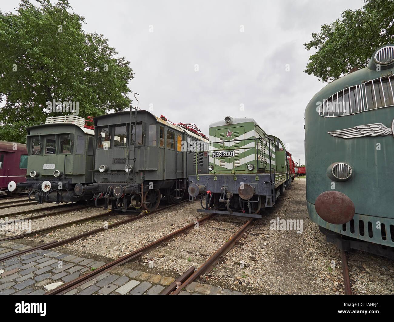 The Magyar Vasúttörténeti Park Hungarian Railway History Park and both electric and diesel locomotives Budapest Hungary Stock Photo