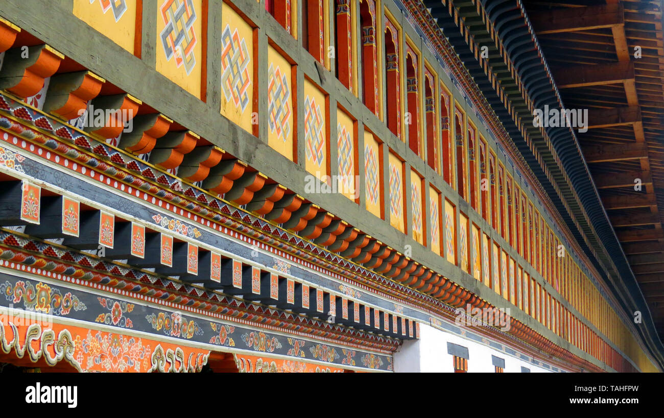 The beautiful architecture of a Buddhist Monastery in a long corridor, in Thimpu, Bhutan - Stock Image