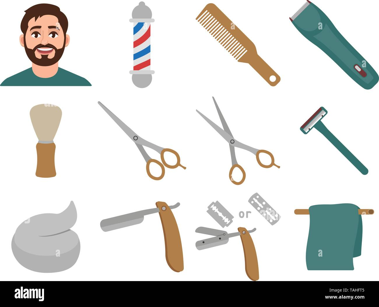 Barber Shop set of icons in cartoon style, haircut and shave, shavette, barber pole, hair clipper, etc. vector illustration - Stock Image