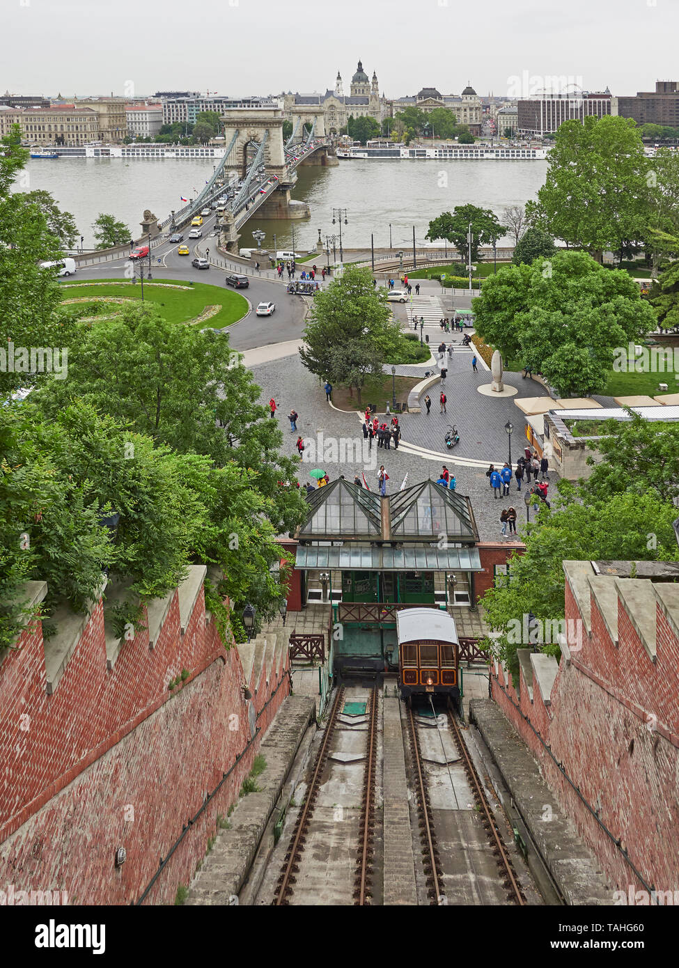 Budapest funicular conecting Adam Clark square on the banks of the Danube with the Castle hill district Stock Photo