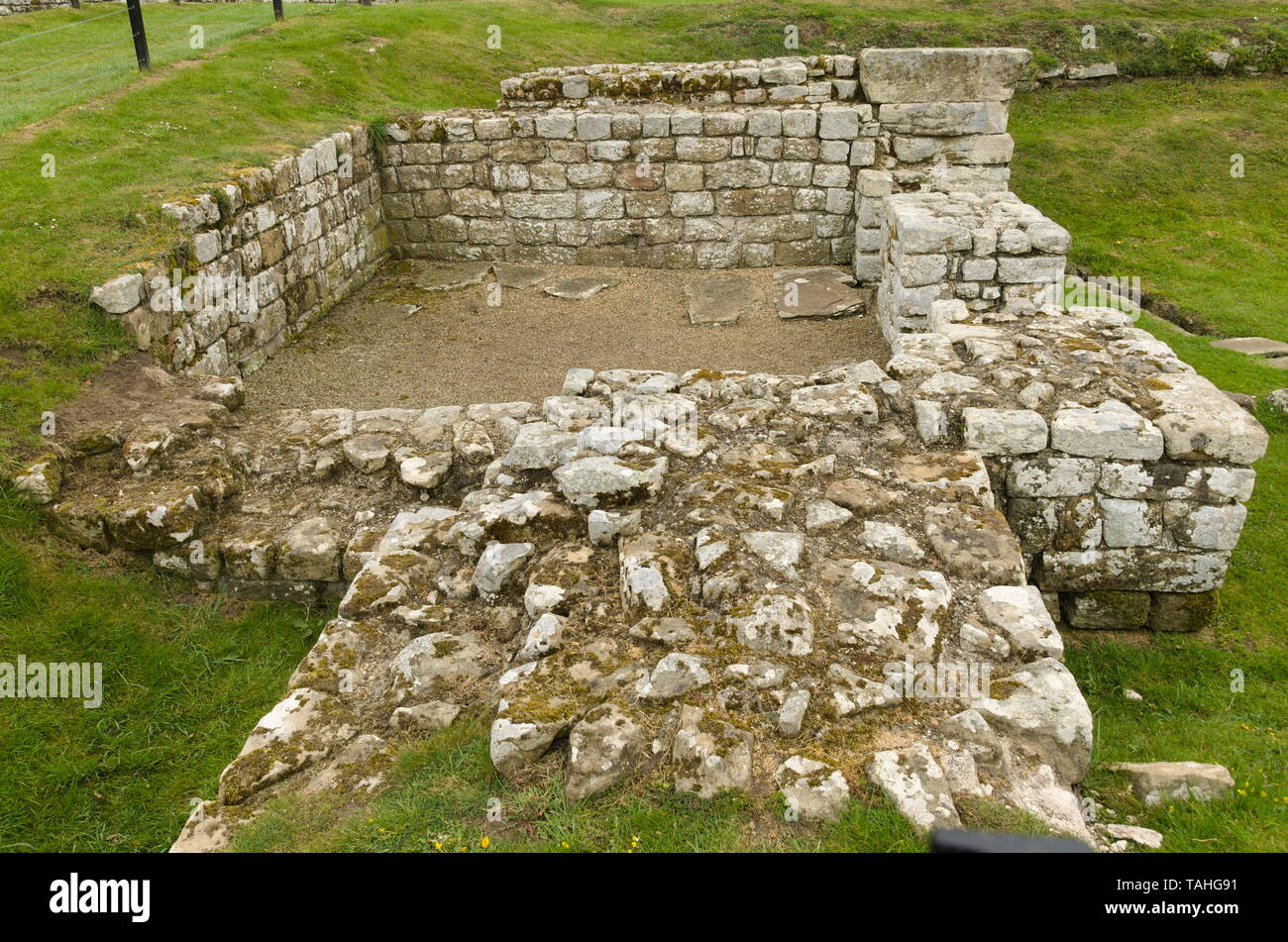 Roman ruins at Chesters fort and museum at Hexham U.K - Stock Image