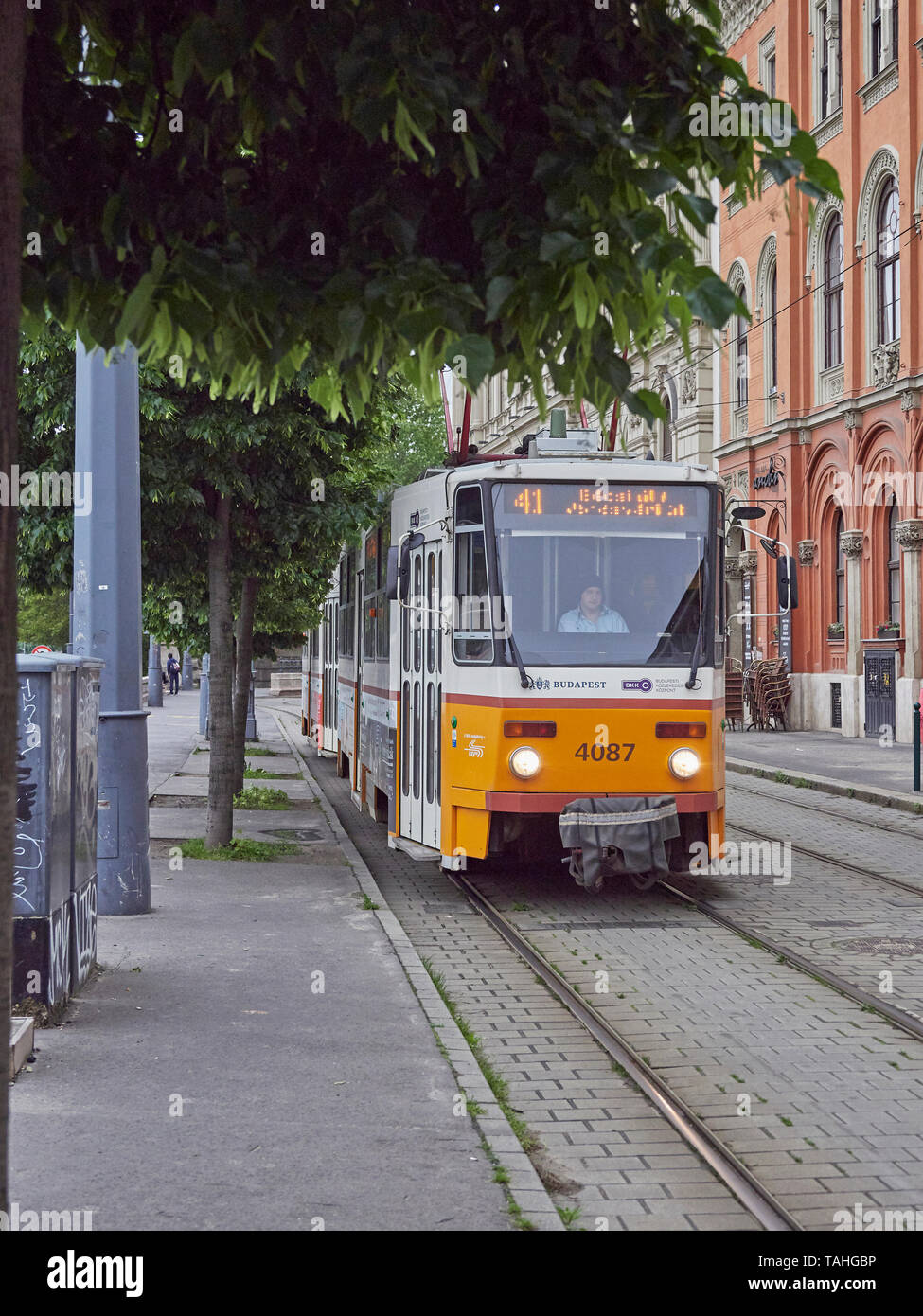 Budapest tram 41 along the Buda side of the Danube Hungary - Stock Image