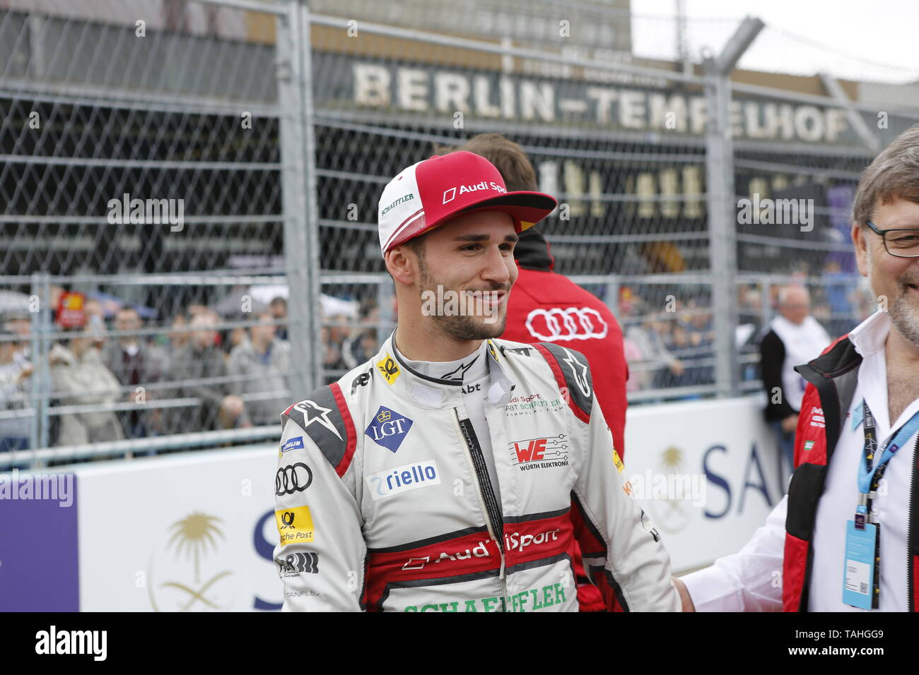 25.05.2019, Berlin, Germany.Daniel Abt at the grid. Lucas Di Grassi from the Audi Sport Abt Schaeffler team wins the Berlin ePrix. Sébastien Buemi from the team Nissan e.dams wins the second place and Jean-Eric Vergne from the team DS TECHEETAH wins the third place. The Formula E will be on the 25th of May 2019 for the fifth time in Berlin. The electric racing series 2018/2018 will take place at the former Tempelhof Airport. - Stock Image