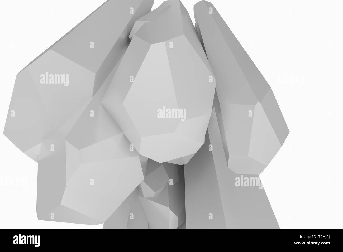 A cluster of precision-cut magic crystal, science fiction and magic theme, 3d rendering. Computer digital background. - Stock Image