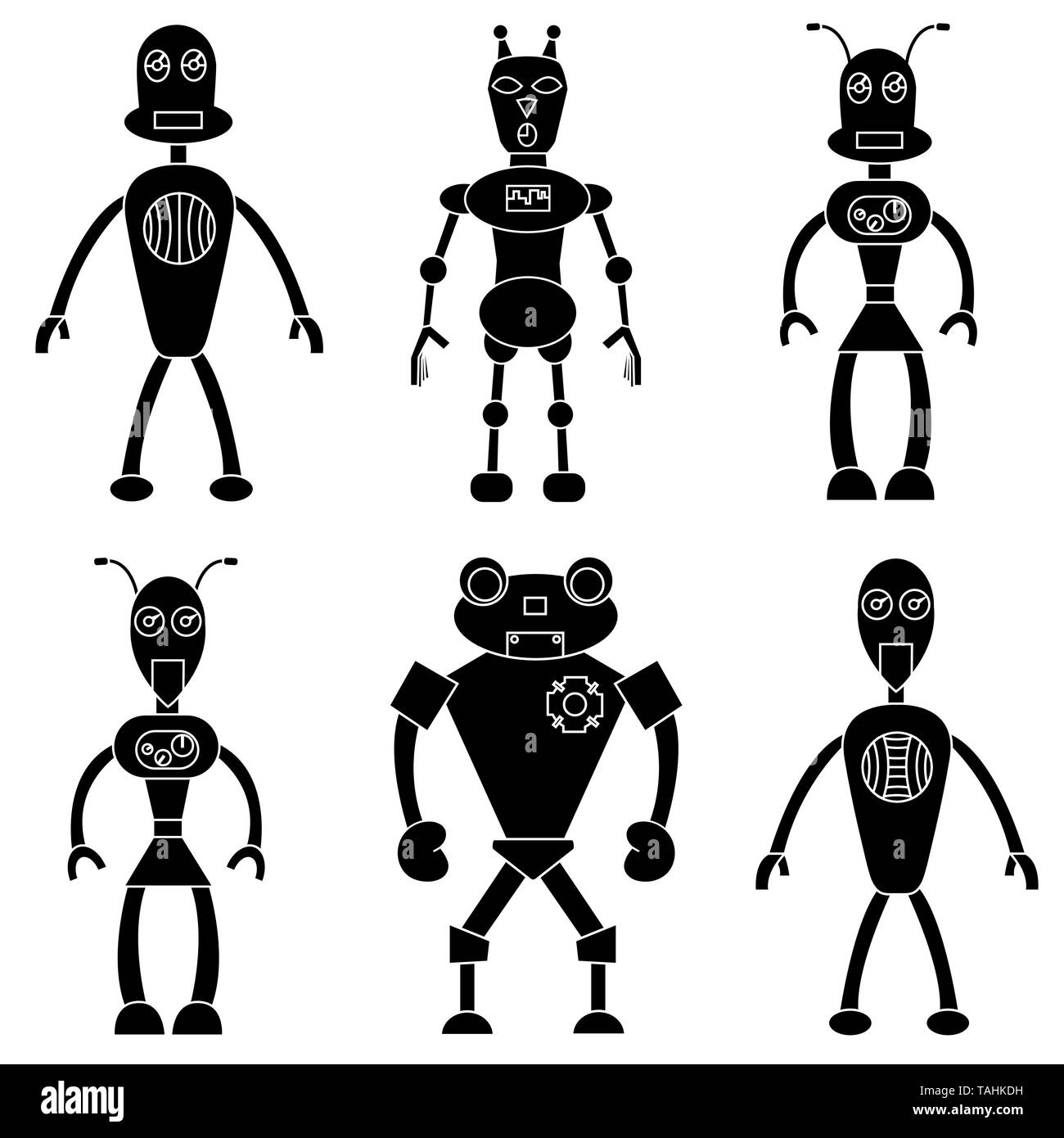Set of robots in simple style. Isolated stock vector illustration Stock Vector