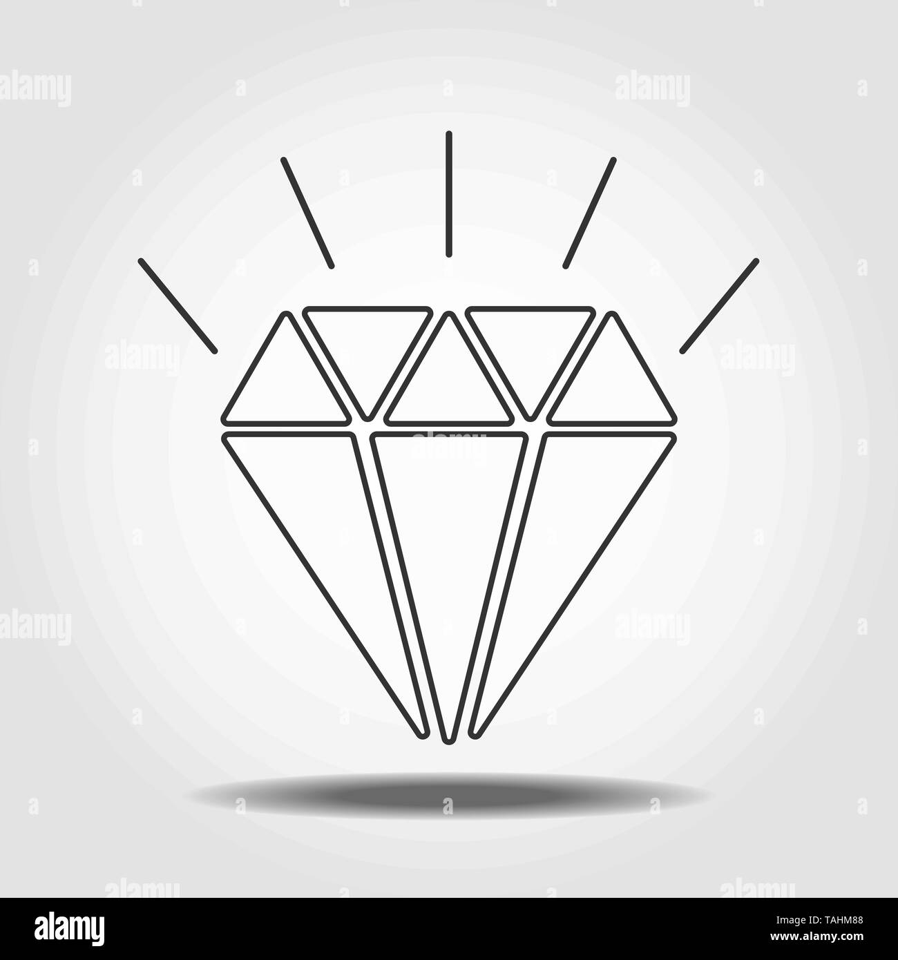Diamond Icon Vector. Simple flat symbol. Perfect Line pictogram illustration on white background. eps10 - Stock Image