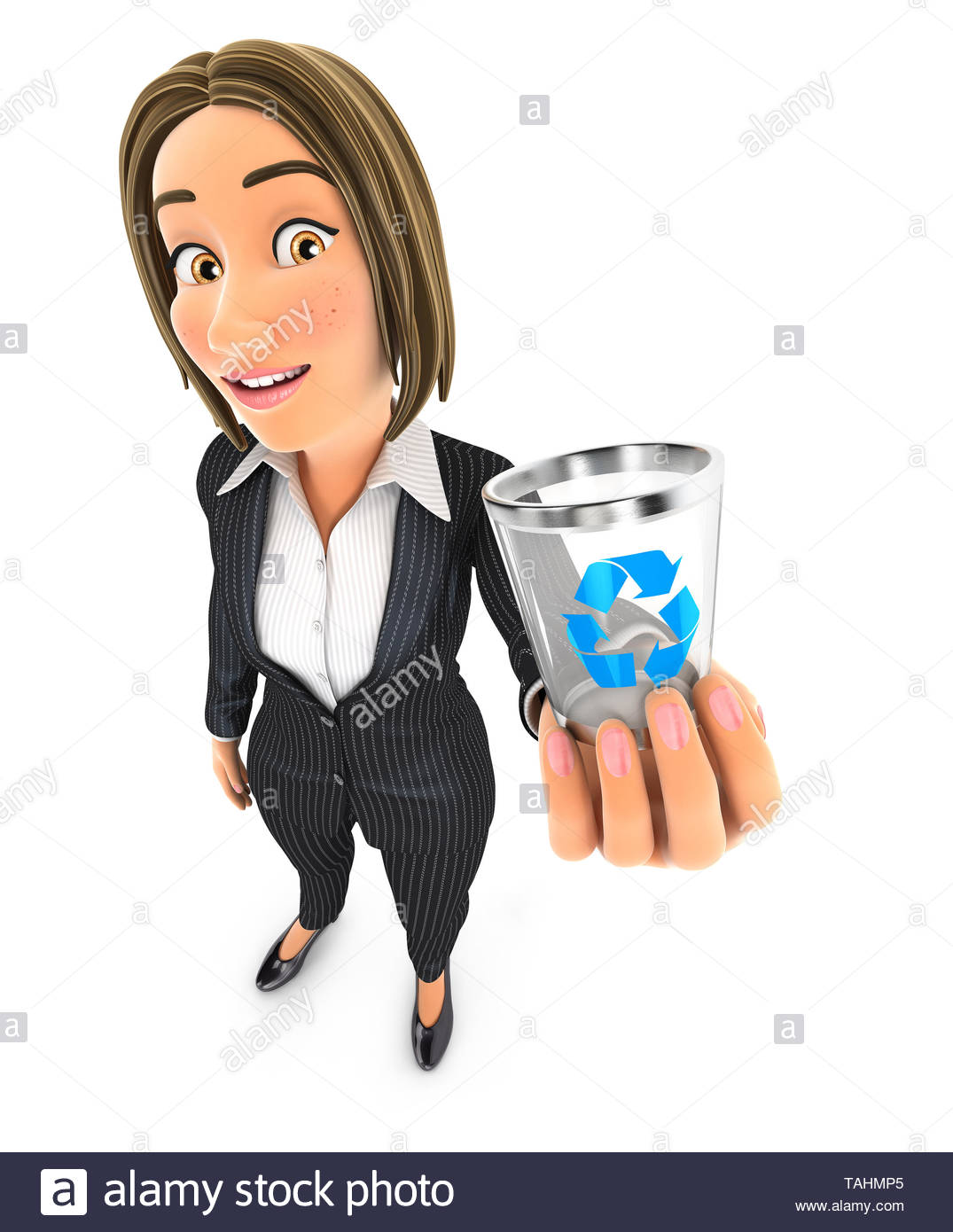 3d business woman holding trash can icon, illustration with isolated white background - Stock Image