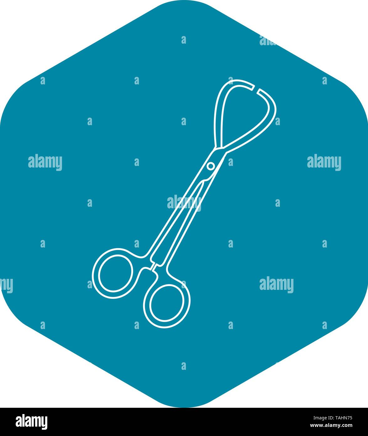 Stainless medical clamp scissors icon - Stock Image