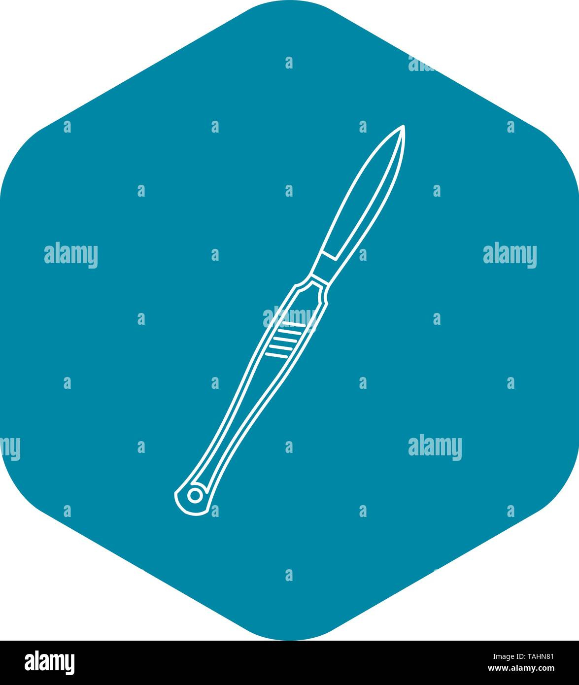 Medical scalpel icon, outline style - Stock Image